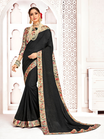 Black Poly Silk Stone Work Saree Sari
