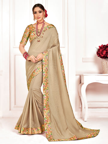 Beige Poly Silk Stone Work Saree Sari