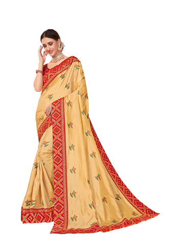 Gold Poly Silk Embroidered With Jacquard Border Designer Saree Sari
