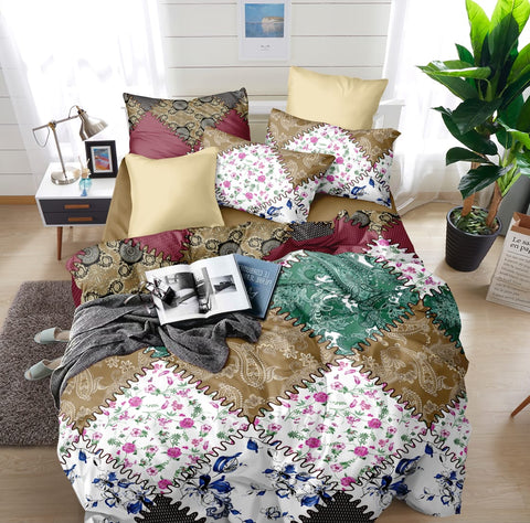Multi-Colour Poly-Cotton Double Bed Printed Bedsheet
