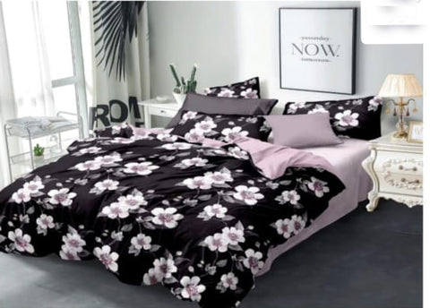 Black Poly-Cotton Double Bed Printed Bedsheet