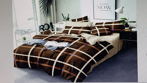 Brown Poly-Cotton Double Bed Printed Bedsheet