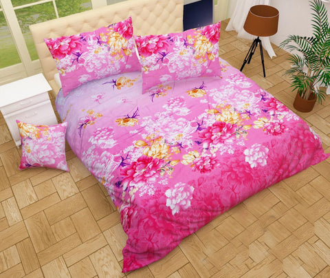 Pink Poly-Cotton Double Bed Printed Bedsheet