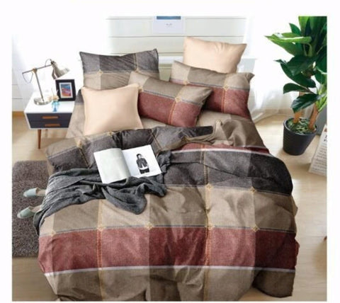 Beige Poly-Cotton Double Bed Printed Bedsheet