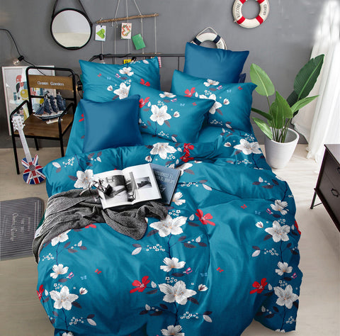Blue Poly-Cotton Double Bed Printed Bedsheet