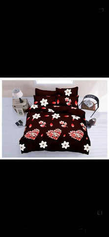 Maroon Poly-Cotton Double Bed Printed Bedsheet