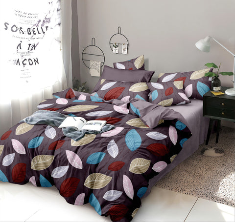 Grey Poly-Cotton Double Bed Printed Bedsheet
