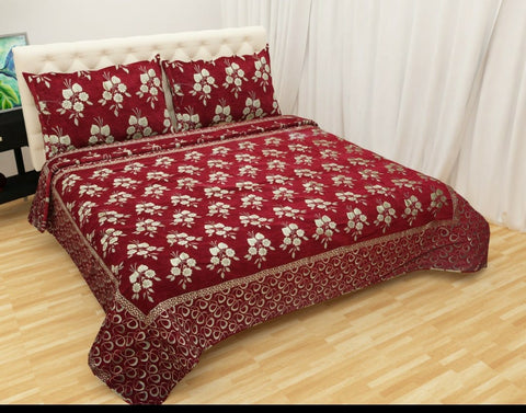Red Glace Cotton Double Bed Bedsheet