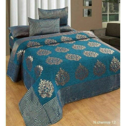 Teal Blue Glace Cotton Double Bed Bedsheet