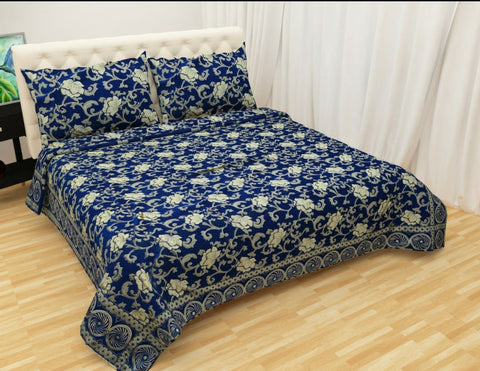 Deep Blue Glace Cotton Double Bed Bedsheet