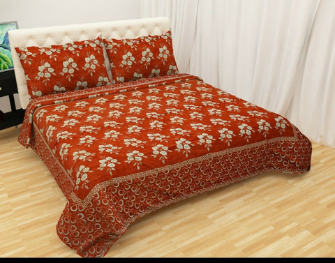 Orange Glace Cotton Double Bed Bedsheet