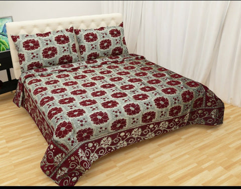 Red & Grey Glace Cotton Double Bed Bedsheet