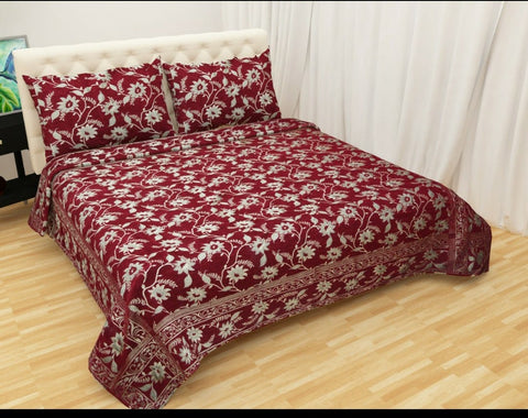 Maroon Glace Cotton Double Bed Bedsheet