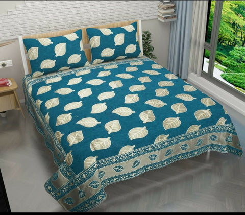 Turquoise Blue Glace Cotton Double Bed Bedsheet