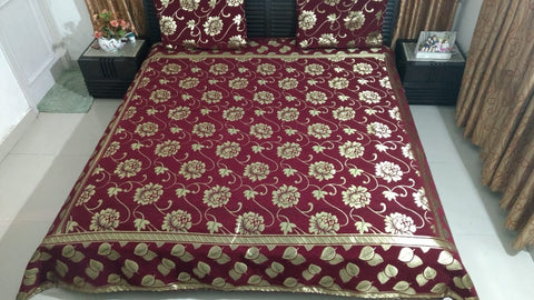 Plum Red Glace Cotton Double Bed Bedsheet