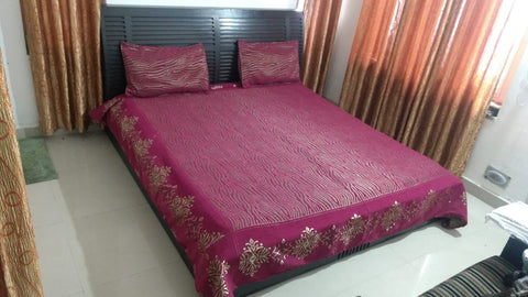 Purple Glace Cotton Double Bed Bedsheet