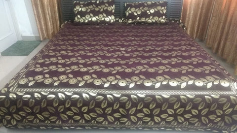 Coffee Brown Glace Cotton Double Bed Bedsheet