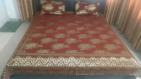 Rust Glace Cotton Double Bed Bedsheet