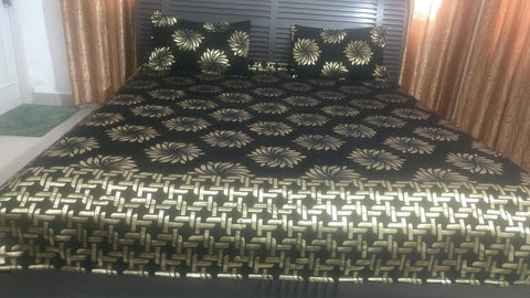 Black Glace Cotton Double Bed Bedsheet