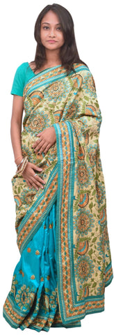 Cream & Turquoise Designer Party Wear Silk Hand Embroidery Thread Work Saree Sari E368