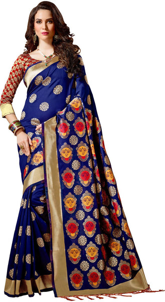 SMSAREE Blue Designer Wedding Partywear Banarasi Art Silk Hand Embroidery Work Bridal Saree Sari With Blouse Piece YNF-28434