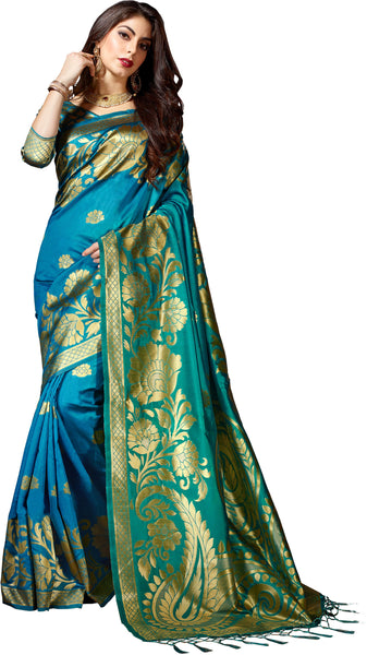 SMSAREE Turquoise Blue Designer Wedding Partywear Banarasi Art Silk Hand Embroidery Work Bridal Saree Sari With Blouse Piece YNF-28449
