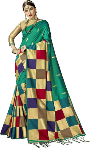 SMSAREE Rust Designer Wedding Partywear Kanjeevaram Art Silk Hand Embroidery Work Bridal Saree Sari With Blouse Piece YNF-29201