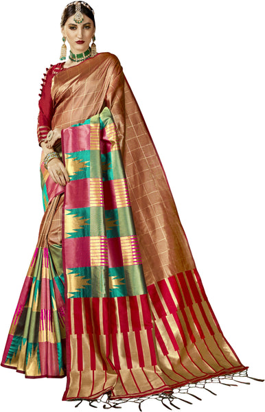 SMSAREE Copper Designer Wedding Partywear Kanjeevaram Art Silk Hand Embroidery Work Bridal Saree Sari With Blouse Piece YNF-29203