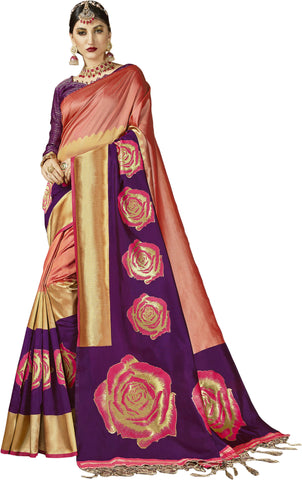 SMSAREE Pink Designer Wedding Partywear Kanjeevaram Art Silk Hand Embroidery Work Bridal Saree Sari With Blouse Piece YNF-29255