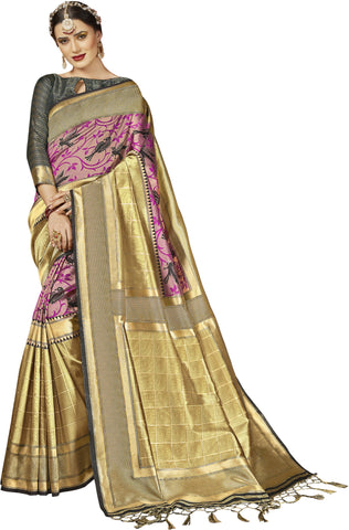 SMSAREE Gold Designer Wedding Partywear Kanjeevaram Art Silk Hand Embroidery Work Bridal Saree Sari With Blouse Piece YNF-29257