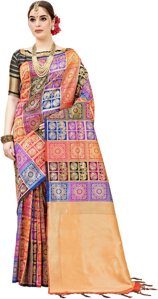 SMSAREE Multi Designer Wedding Partywear Kanjeevaram Art Silk Hand Embroidery Work Bridal Saree Sari With Blouse Piece YNF-29443