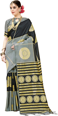 SMSAREE Black Designer Wedding Partywear Kanjeevaram Art Silk Hand Embroidery Work Bridal Saree Sari With Blouse Piece YNF-29444