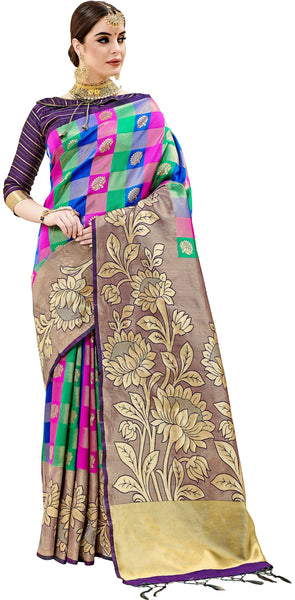 SMSAREE Violet Designer Wedding Partywear Kanjeevaram Art Silk Hand Embroidery Work Bridal Saree Sari With Blouse Piece YNF-29446