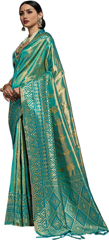 SMSAREE Teal Designer Wedding Partywear Kanjeevaram Art Silk Hand Embroidery Work Bridal Saree Sari With Blouse Piece YNF-29502