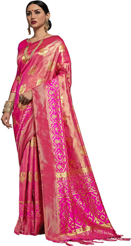 SMSAREE Pink Designer Wedding Partywear Kanjeevaram Art Silk Hand Embroidery Work Bridal Saree Sari With Blouse Piece YNF-29504