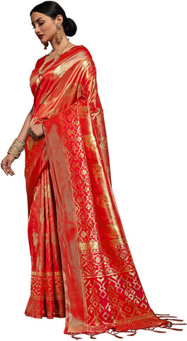 SMSAREE Red Designer Wedding Partywear Kanjeevaram Art Silk Hand Embroidery Work Bridal Saree Sari With Blouse Piece YNF-29505