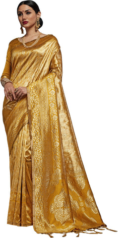 SMSAREE Mustard Designer Wedding Partywear Kanjeevaram Art Silk Hand Embroidery Work Bridal Saree Sari With Blouse Piece YNF-29506