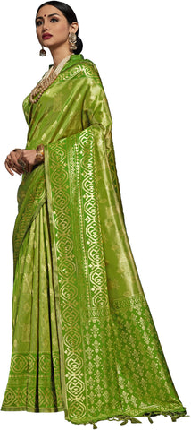 SMSAREE Green Designer Wedding Partywear Kanjeevaram Art Silk Hand Embroidery Work Bridal Saree Sari With Blouse Piece YNF-29508