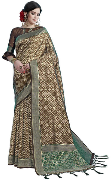 SMSAREE Brown Designer Wedding Partywear Tanchui Art Silk Hand Embroidery Work Bridal Saree Sari With Blouse Piece YNF-29734