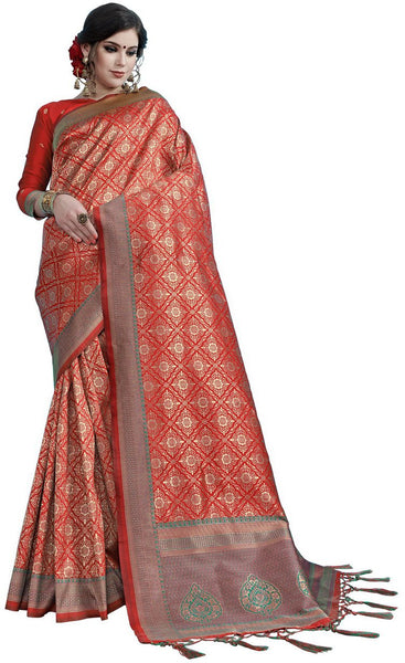 SMSAREE Maroon Designer Wedding Partywear Tanchui Art Silk Hand Embroidery Work Bridal Saree Sari With Blouse Piece YNF-29737