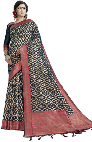 SMSAREE Black Designer Wedding Partywear Tanchui Art Silk Hand Embroidery Work Bridal Saree Sari With Blouse Piece YNF-29738