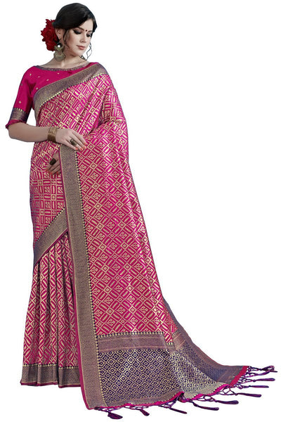 SMSAREE Pink Designer Wedding Partywear Tanchui Art Silk Hand Embroidery Work Bridal Saree Sari With Blouse Piece YNF-29739