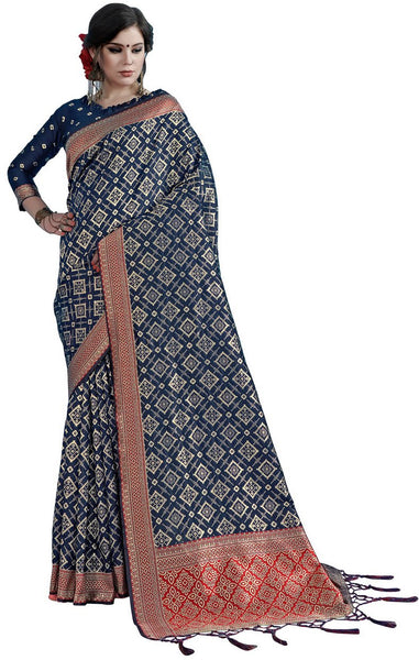 SMSAREE Navy Blue Designer Wedding Partywear Tanchui Art Silk Hand Embroidery Work Bridal Saree Sari With Blouse Piece YNF-29741