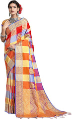 SMSAREE Multi Designer Wedding Partywear Uppada Art Silk Hand Embroidery Work Bridal Saree Sari With Blouse Piece YNF-29930