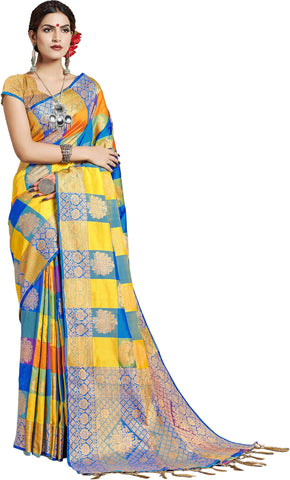 SMSAREE Multi Designer Wedding Partywear Uppada Art Silk Hand Embroidery Work Bridal Saree Sari With Blouse Piece YNF-29931
