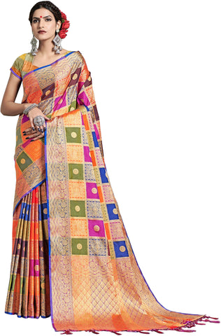 SMSAREE Multi Designer Wedding Partywear Uppada Art Silk Hand Embroidery Work Bridal Saree Sari With Blouse Piece YNF-29933