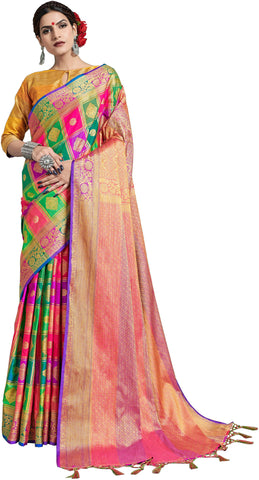 SMSAREE Multi Designer Wedding Partywear Uppada Art Silk Hand Embroidery Work Bridal Saree Sari With Blouse Piece YNF-29934