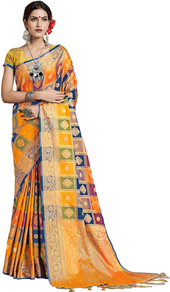 SMSAREE Multi Designer Wedding Partywear Uppada Art Silk Hand Embroidery Work Bridal Saree Sari With Blouse Piece YNF-29935