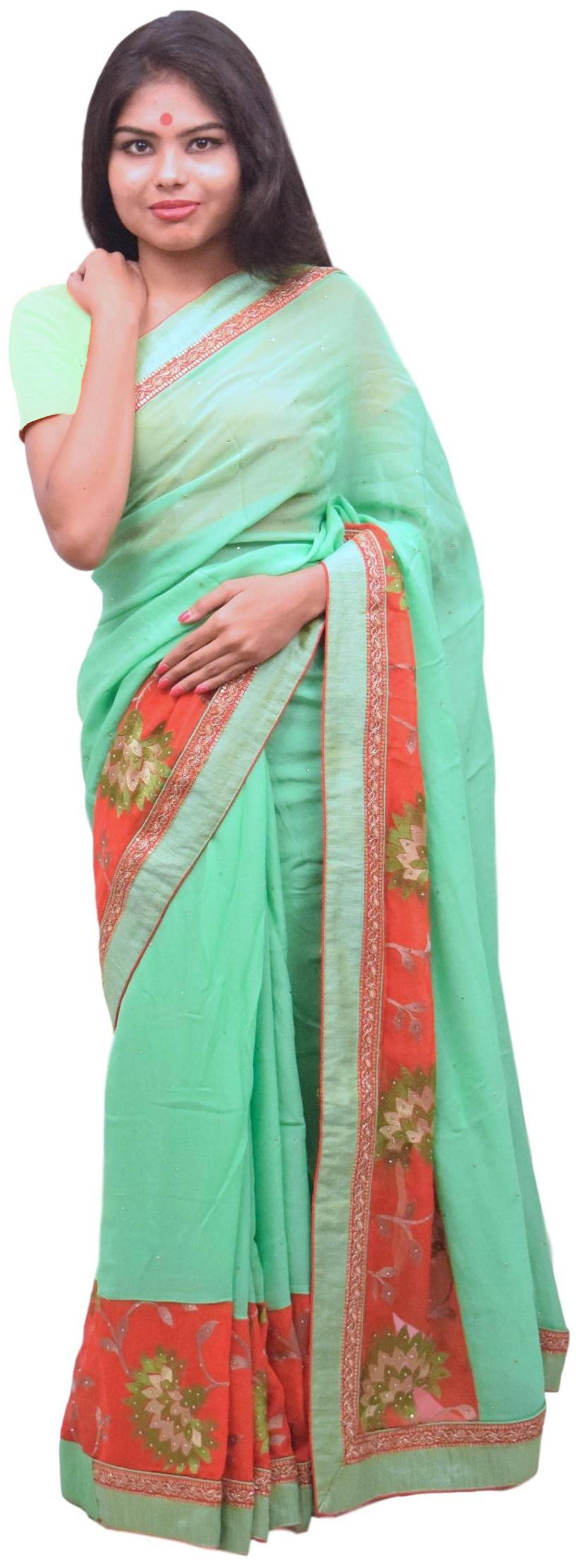 Green & Red Designer Wedding Partywear Ethnic Bridal Georgette (Viscos) Hand Embroidery Stone Zari Bullion Sequence Thread Work Kolkata Women Blouse Saree Sari SAC352