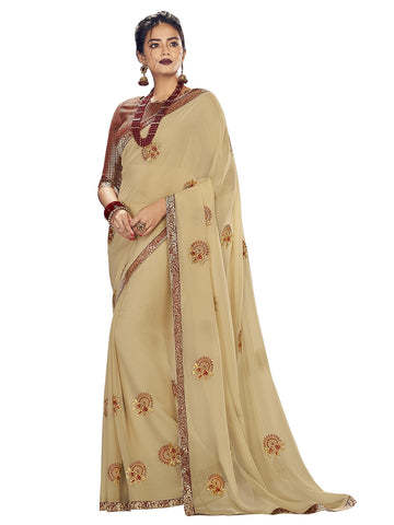 Beige Georgette Zari Embroidered Saree Sari